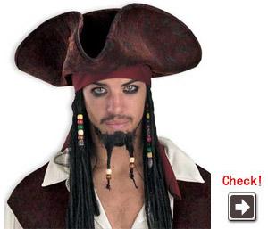 ジャック・スパロウ海賊帽とビーズ付き編み髪