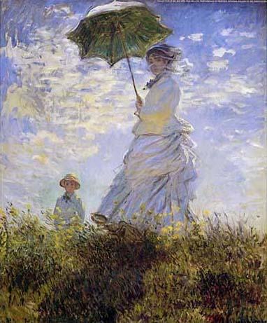 日傘の女性、モネ夫人と息子