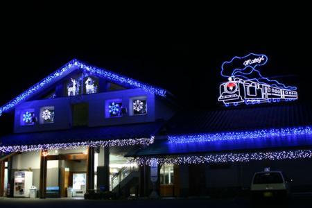 茂木駅舎の電飾