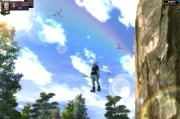剣仙城前にかかる虹