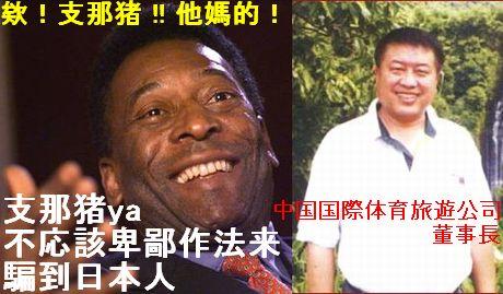 支那猪不応該 Pele 中国国際体育董事長