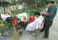 5上海街頭的理発師1