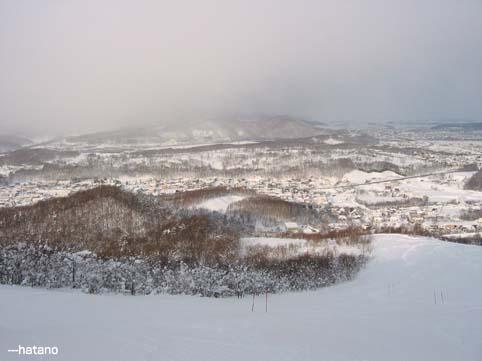 1月16日のマロースゲレンデから見た嵐山
