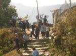 ポカラ山の小学校の子供