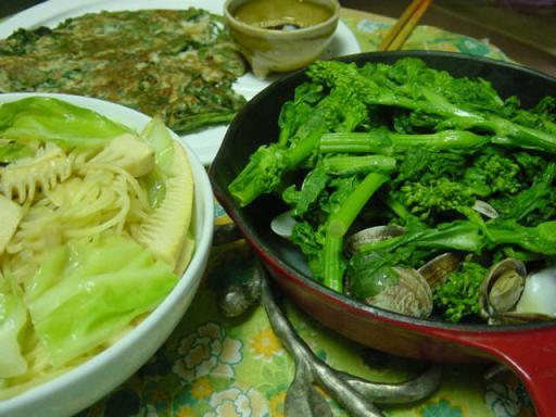 あさりの菜の花蒸し_筍と春キャベツのパスタ