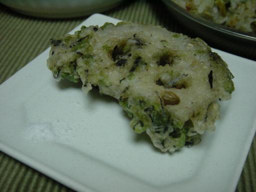 レンコンと長芋のひじき天ぷら
