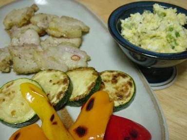 ジンジャーポークとゴーヤのポテトサラダ