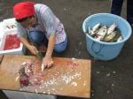 魚をさばくおばさん