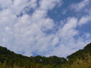 九州自動車道「桜島SA」で空を見上げる