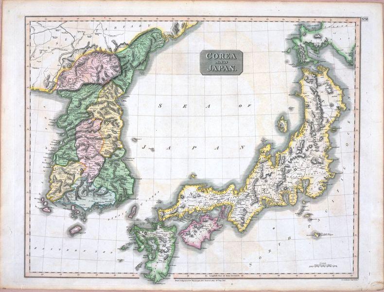 1815年にイギリスで発行された地図。19世紀前半には既に日本海(Sea of Japan)は一般的だった。