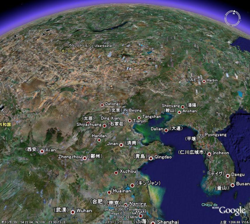 Google Earthで支那を臨む(海洋汚染もバッチリ写ってるし)
