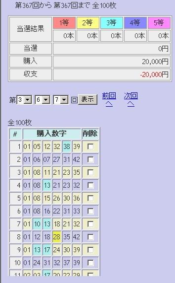 第366回(2007年11月01日)ロト6(LOTO6)抽選結果/LOTOSKYによる当選照合画像
