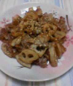 ハスと豚肉のシャキシャキ炒め。