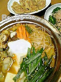 牡蠣のキムチ鍋1