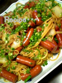 白菜とチョリソーのスパゲッティ