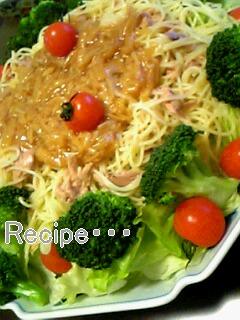 ツナとなめ茸のスパゲッティサラダ♪