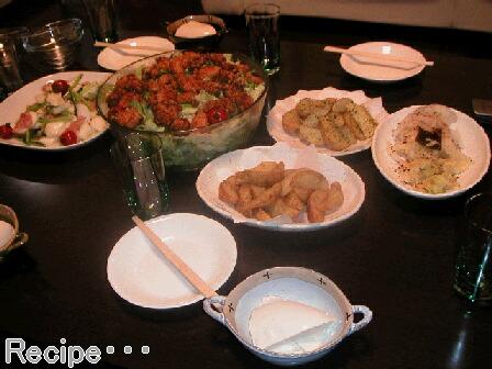 サラダ・ポテト・冷奴・白菜の漬け物