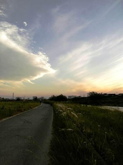 光る空に続く道