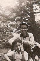 渡辺茂男氏と五歳の鉄太氏
